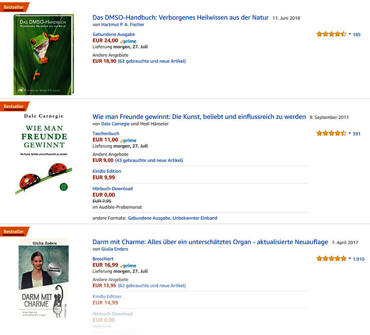 Busines-Ideen Quelle Amazon-Bestseller