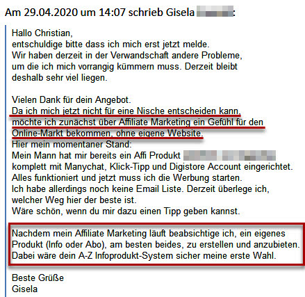 Gisela möchte mit Affiliate-Marketing starten