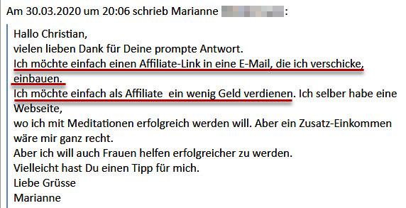 Marianne möchte mit Affiliate-Marketing starten