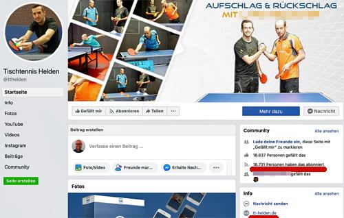 Tischtennis Helden Facebook-Seite