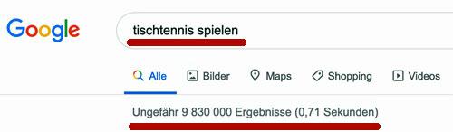 Google Ergebnisse Tischtennis spielen
