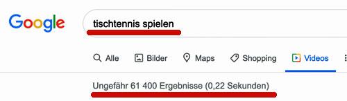 Anzahl Videos Tischtennis spielen