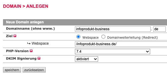 All-Inkl Neue Domain anlegen