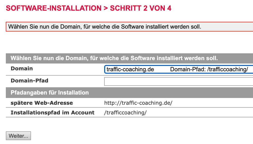 All-inkl Domainpfad auswählen