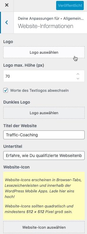 Logo für WordPress-Seite auswählen