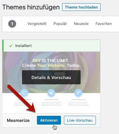 Mesmerize WordPress-Theme aktivieren