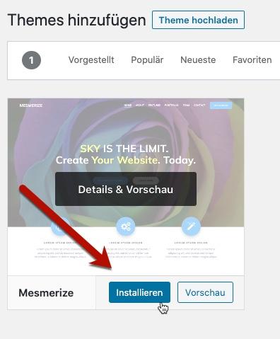 Mesmerize WordPress-Theme hinzufügen