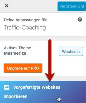 Vorgefertigte Websites importieren