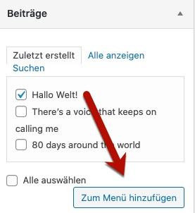 WordPress-Beiträge zum Menü hinzufügen
