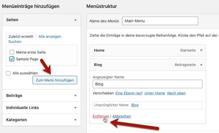 WordPress Menü-Einträge hinzufügen und entfernen