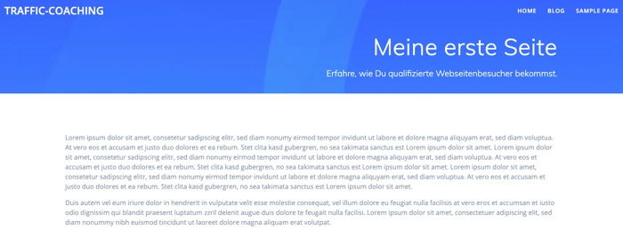 WordPress-Seite im Theme-Layout