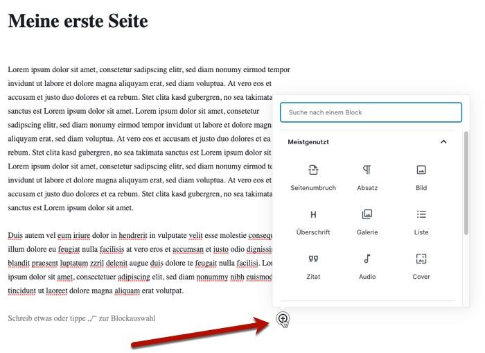 WordPress-Seite mit Inhalt füllen