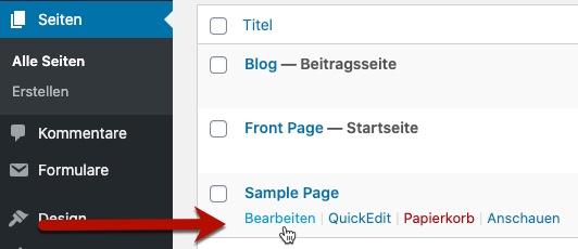 WordPress-Seiten bearbeiten