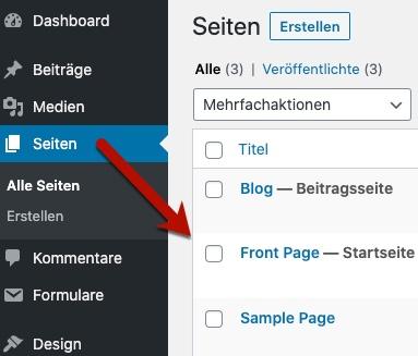 WordPress-Seiten
