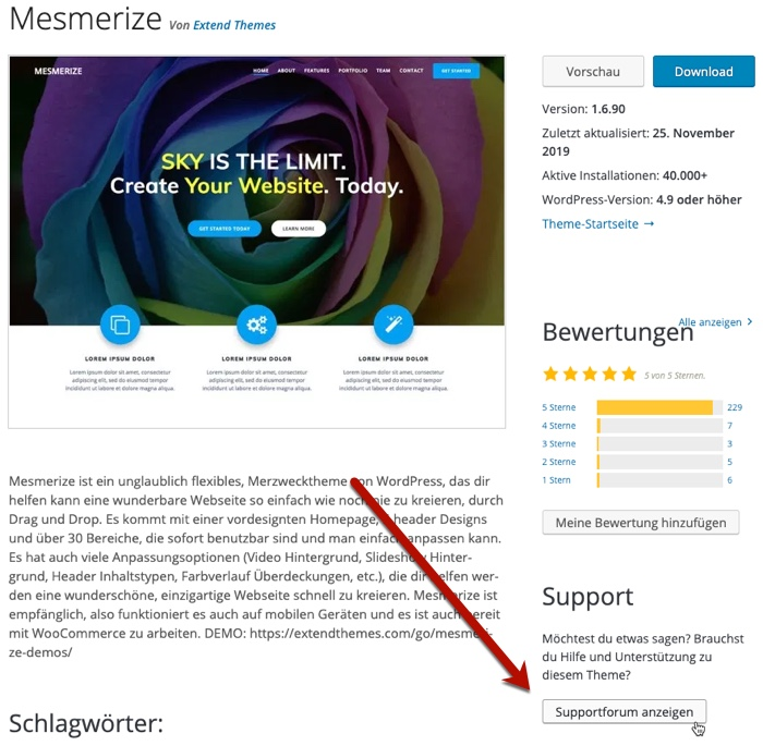 WordPress-Theme Mesmerize Supportforum
