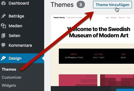 WordPress-Theme hinzufügen
