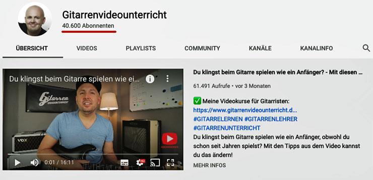 YouTube-Kanal Gitarren-Videokurs