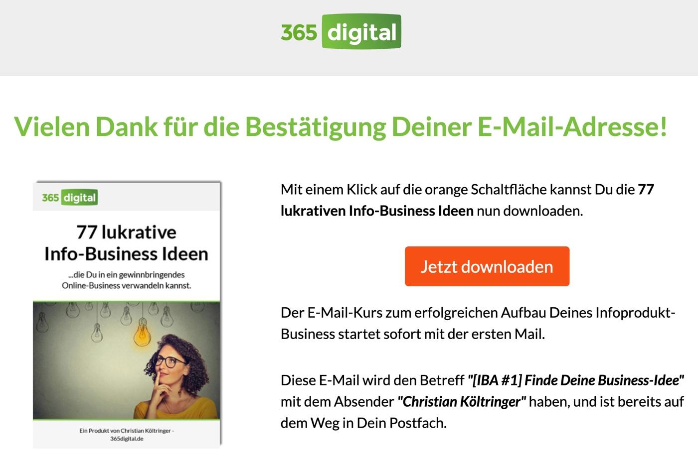 Beispiel E-Mail-Dankeschönseite