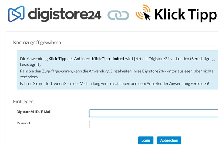 Digistore24 mit Klick-Tipp verknüpft