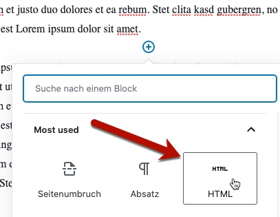 HTML-Block in WordPress hinzufügen