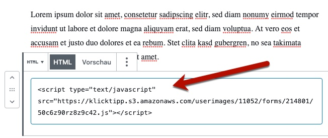 JavaScript-Code in WordPress-Block einfügen