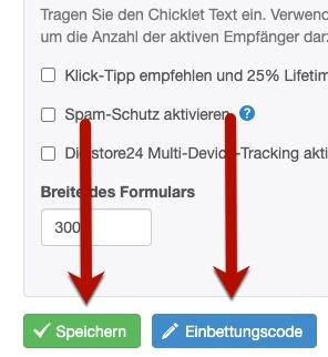 Klick-Tipp Anmeldeformular speichern