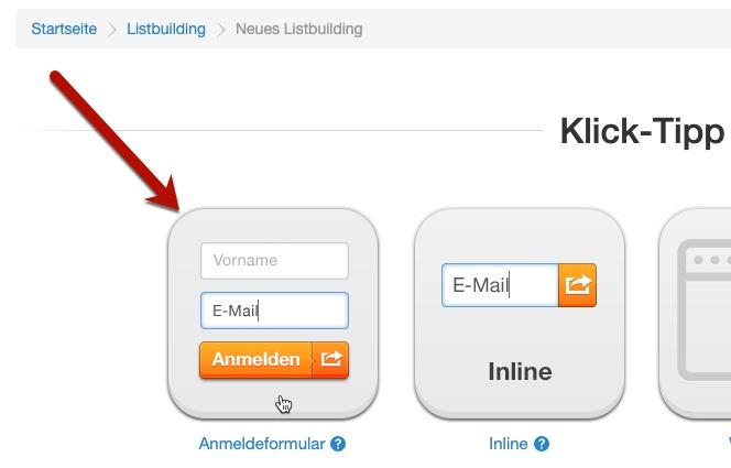 Klick-Tipp Anmeldeformular
