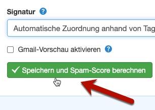 Klick-Tipp-Button Speichern und Spam-Score berechnen