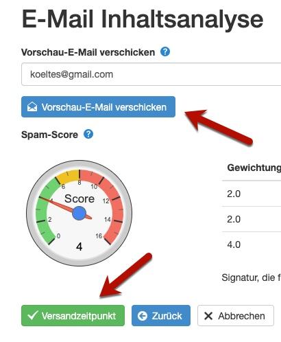 Klick-Tipp E-Mail-Inhaltsanalyse