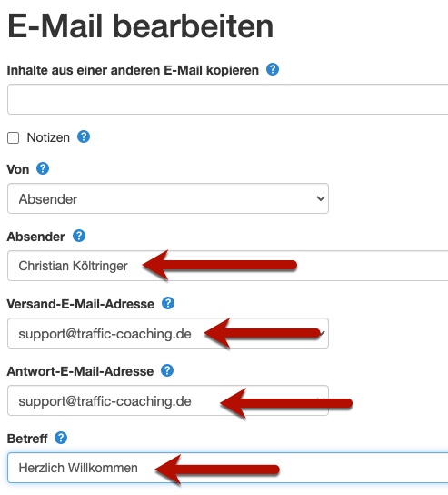 Klick-Tipp E-Mail bearbeiten