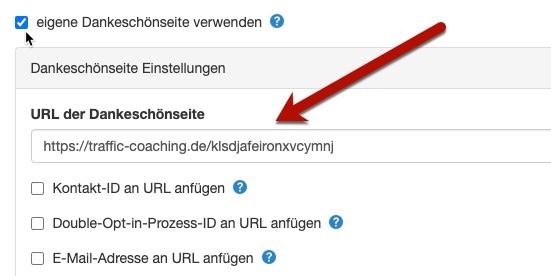 Eigene Dankeschönseite in Klick-Tipp verwenden