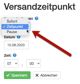 Klick-Tipp Versandzeitpunkt auswählen