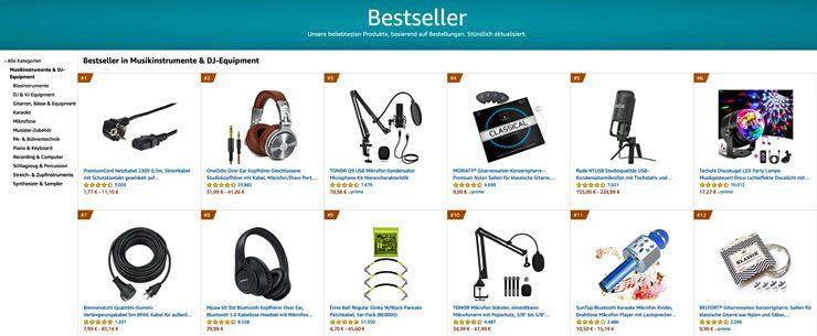 Amazon Bestsellerliste Musikinstrumente und DJ Equipment