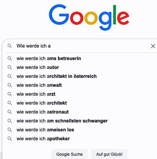 """Google-Suggest für """"Wie werde ich a"""""""